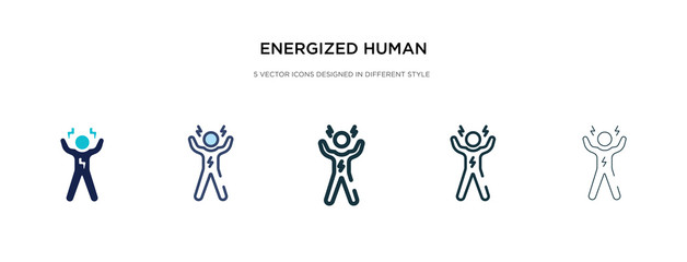 energized human icon in different style vector illustration. two colored and black energized human vector icons designed in filled, outline, line and stroke style can be used for web, mobile, ui