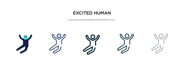 excited human icon in different style vector illustration. two colored and black excited human vector icons designed in filled, outline, line and stroke style can be used for web, mobile, ui