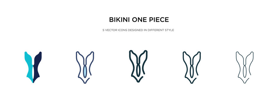 bikini one piece swimwear icon in different style vector illustration. two colored and black bikini one piece swimwear vector icons designed in filled, outline, line and stroke style can be used for