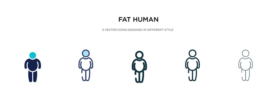 fat human icon in different style vector illustration. two colored and black fat human vector icons designed in filled, outline, line and stroke style can be used for web, mobile, ui