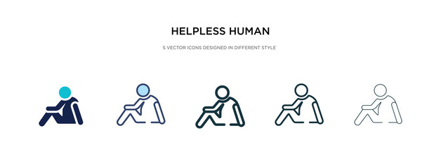 helpless human icon in different style vector illustration. two colored and black helpless human vector icons designed in filled, outline, line and stroke style can be used for web, mobile, ui