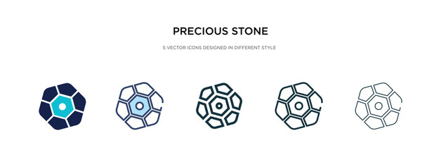 precious stone icon in different style vector illustration. two colored and black precious stone vector icons designed in filled, outline, line and stroke style can be used for web, mobile, ui