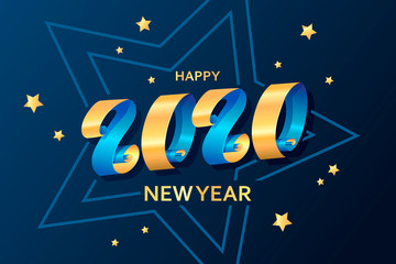 Happy New Year 2020. Ribbons and stars. Template for greeting card, invitation, poster, flyer. Decorative christmas banner. Lettering. Gold and blue colors. Vector illustration