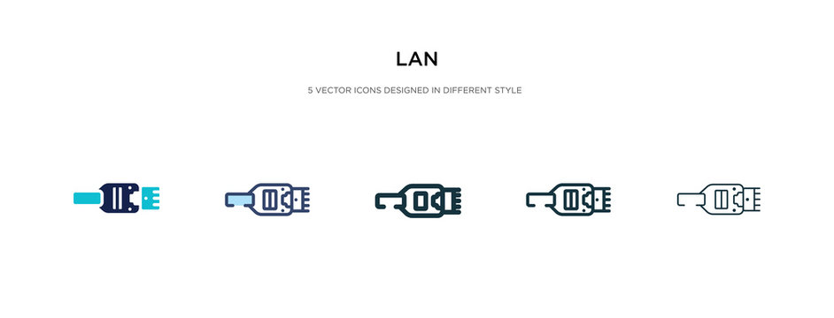 lan icon in different style vector illustration. two colored and black lan vector icons designed in filled, outline, line and stroke style can be used for web, mobile, ui