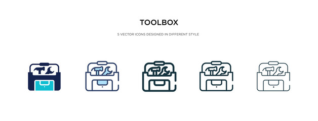 toolbox icon in different style vector illustration. two colored and black toolbox vector icons designed in filled, outline, line and stroke style can be used for web, mobile, ui