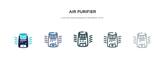 air purifier icon in different style vector illustration. two colored and black air purifier vector icons designed in filled, outline, line and stroke style can be used for web, mobile, ui
