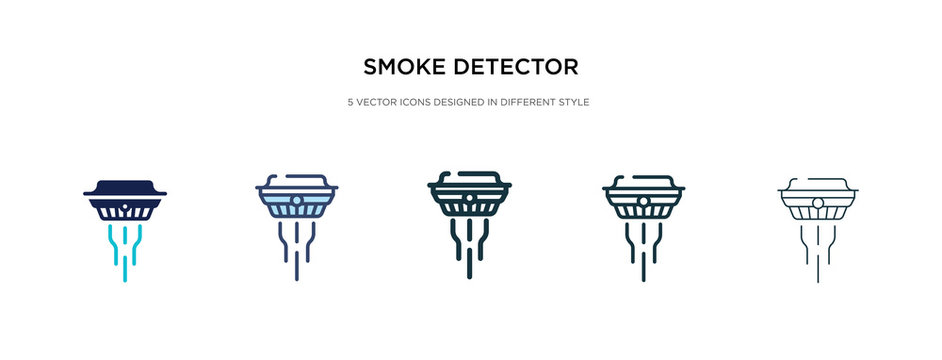 smoke detector icon in different style vector illustration. two colored and black smoke detector vector icons designed in filled, outline, line and stroke style can be used for web, mobile, ui