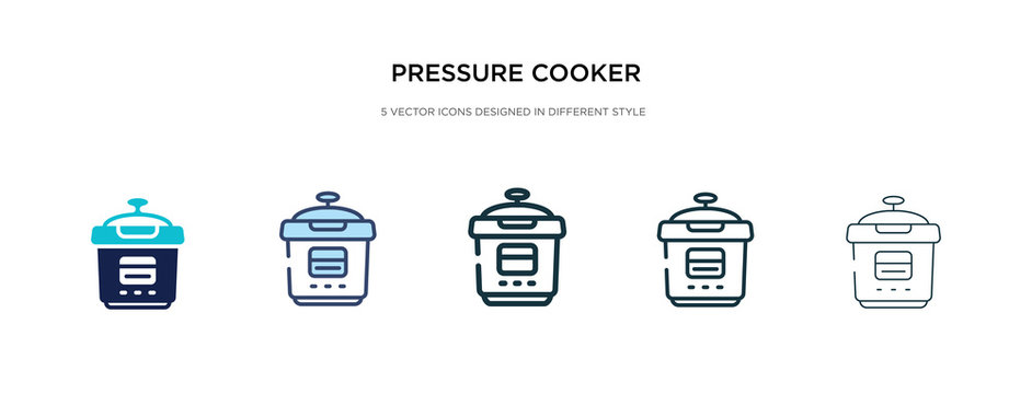 pressure cooker icon in different style vector illustration. two colored and black pressure cooker vector icons designed in filled, outline, line and stroke style can be used for web, mobile, ui
