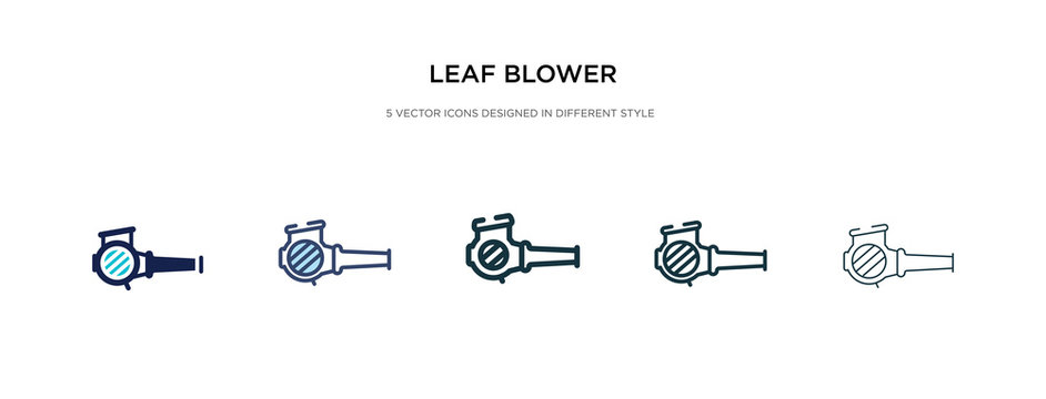 leaf blower icon in different style vector illustration. two colored and black leaf blower vector icons designed in filled, outline, line and stroke style can be used for web, mobile, ui