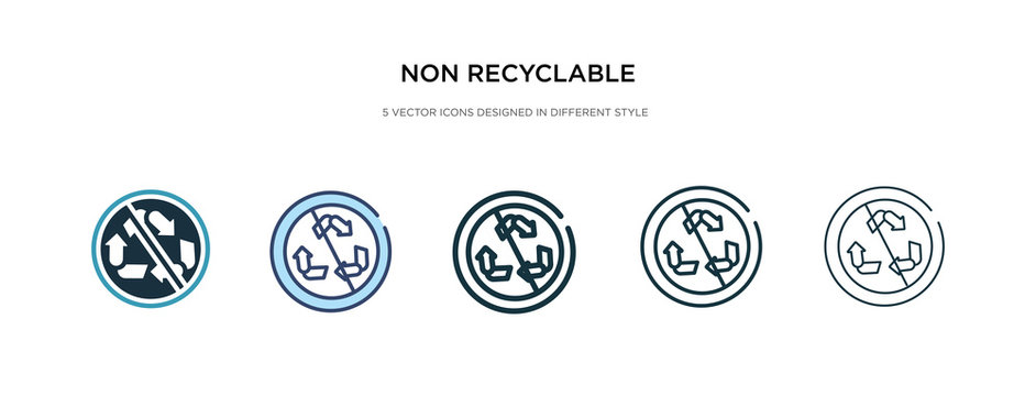 non recyclable icon in different style vector illustration. two colored and black non recyclable vector icons designed in filled, outline, line and stroke style can be used for web, mobile, ui