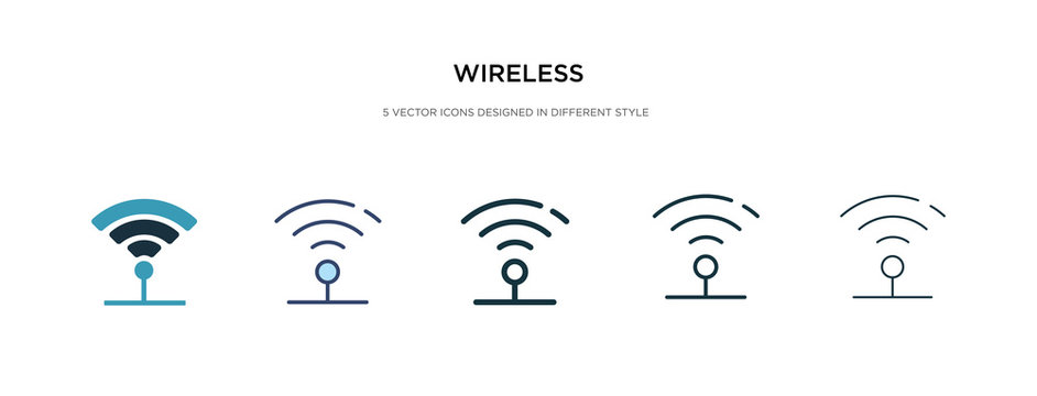 wireless icon in different style vector illustration. two colored and black wireless vector icons designed in filled, outline, line and stroke style can be used for web, mobile, ui