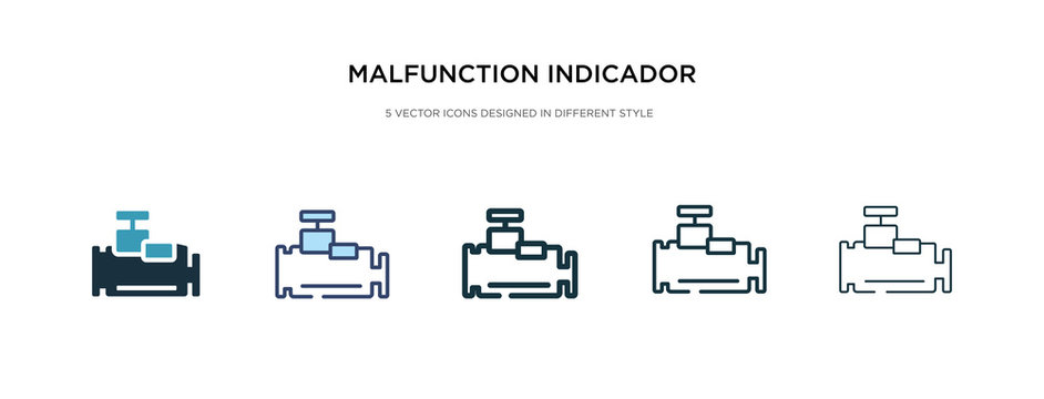 malfunction indicador icon in different style vector illustration. two colored and black malfunction indicador vector icons designed in filled, outline, line and stroke style can be used for web,