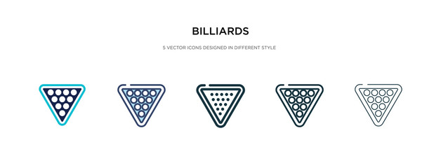 billiards icon in different style vector illustration. two colored and black billiards vector icons designed in filled, outline, line and stroke style can be used for web, mobile, ui