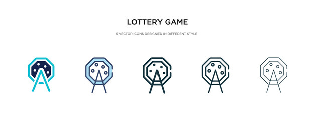 lottery game icon in different style vector illustration. two colored and black lottery game vector icons designed in filled, outline, line and stroke style can be used for web, mobile, ui
