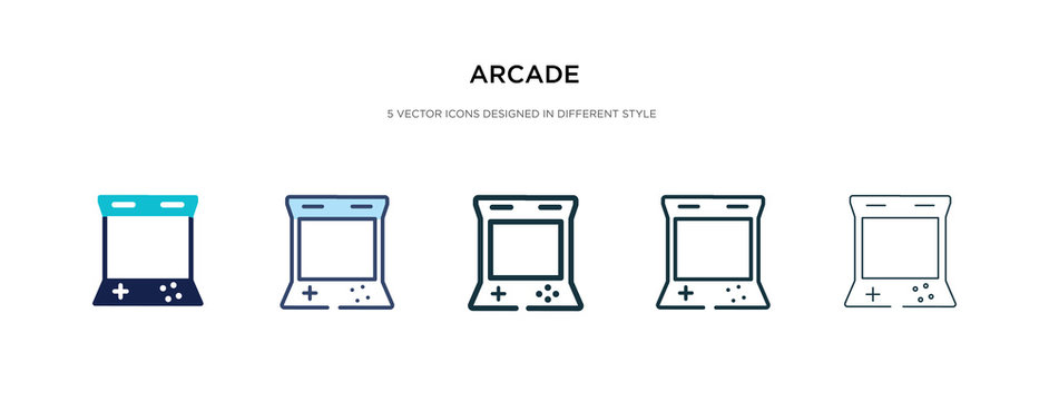 arcade icon in different style vector illustration. two colored and black arcade vector icons designed in filled, outline, line and stroke style can be used for web, mobile, ui