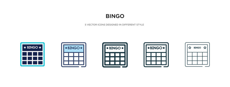 bingo icon in different style vector illustration. two colored and black bingo vector icons designed in filled, outline, line and stroke style can be used for web, mobile, ui