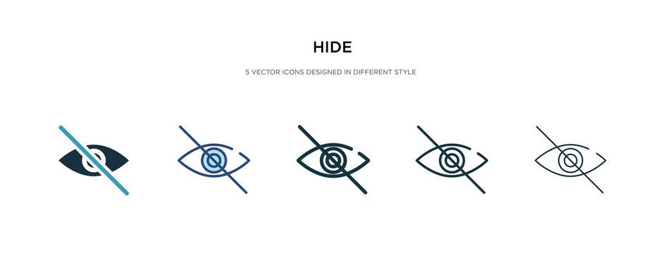 hide icon in different style vector illustration. two colored and black hide vector icons designed in filled, outline, line and stroke style can be used for web, mobile, ui