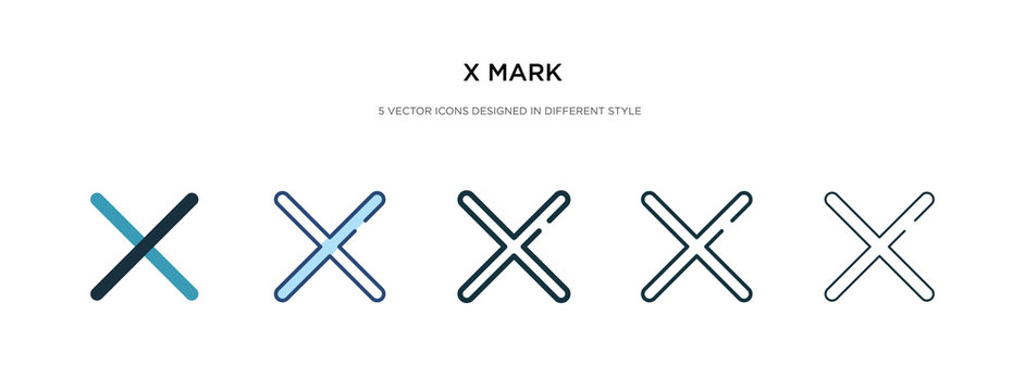 x mark icon in different style vector illustration. two colored and black x mark vector icons designed in filled, outline, line and stroke style can be used for web, mobile, ui
