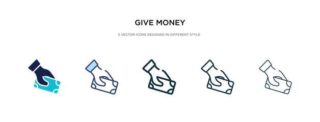 give money icon in different style vector illustration. two colored and black give money vector icons designed in filled, outline, line and stroke style can be used for web, mobile, ui