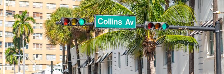 Street sign of famous Collins Avenue, Miami, Florida, USA