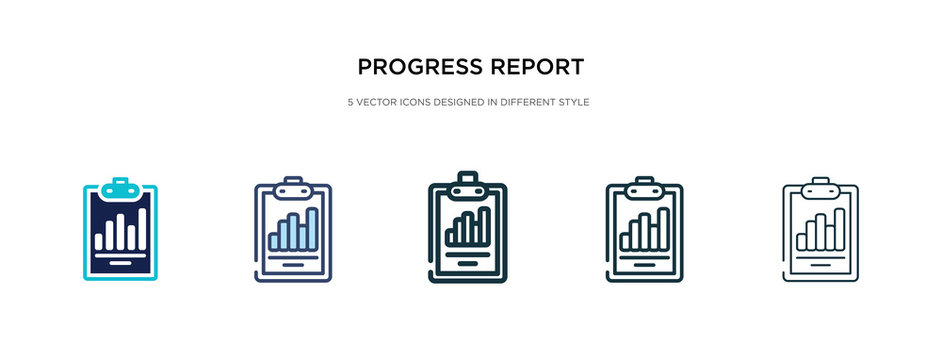 progress report icon in different style vector illustration. two colored and black progress report vector icons designed in filled, outline, line and stroke style can be used for web, mobile, ui