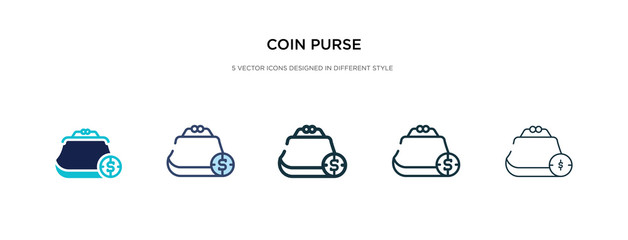 coin purse icon in different style vector illustration. two colored and black coin purse vector icons designed in filled, outline, line and stroke style can be used for web, mobile, ui