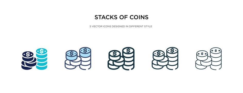stacks of coins icon in different style vector illustration. two colored and black stacks of coins vector icons designed in filled, outline, line and stroke style can be used for web, mobile, ui