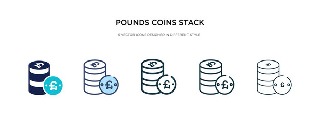 pounds coins stack icon in different style vector illustration. two colored and black pounds coins stack vector icons designed in filled, outline, line and stroke style can be used for web, mobile,
