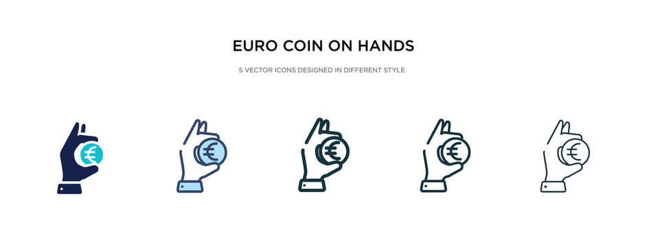 euro coin on hands icon in different style vector illustration. two colored and black euro coin on hands vector icons designed in filled, outline, line and stroke style can be used for web, mobile,