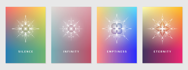 Vector set of cover design template with sacred geometry abstract elements; Modern colorful bright gradient; Shiny floral geometric mandalas; Yoga, meditation and mindfulness concept.