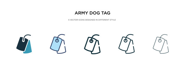 army dog tag icon in different style vector illustration. two colored and black army dog tag vector icons designed in filled, outline, line and stroke style can be used for web, mobile, ui