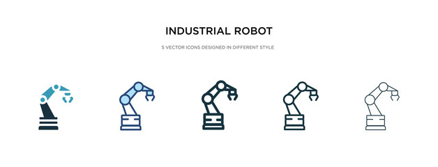 industrial robot icon in different style vector illustration. two colored and black industrial robot vector icons designed in filled, outline, line and stroke style can be used for web, mobile, ui