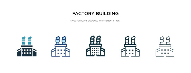 factory building icon in different style vector illustration. two colored and black factory building vector icons designed in filled, outline, line and stroke style can be used for web, mobile, ui
