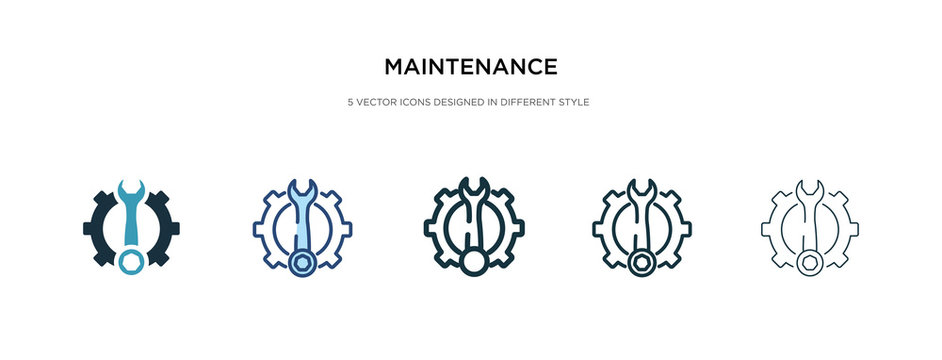maintenance icon in different style vector illustration. two colored and black maintenance vector icons designed in filled, outline, line and stroke style can be used for web, mobile, ui
