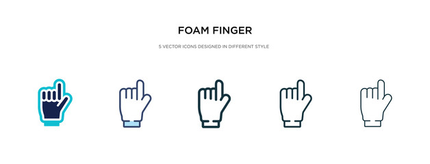 foam finger icon in different style vector illustration. two colored and black foam finger vector icons designed in filled, outline, line and stroke style can be used for web, mobile, ui