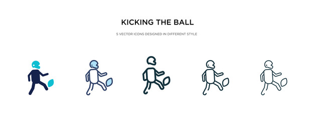 kicking the ball icon in different style vector illustration. two colored and black kicking the ball vector icons designed in filled, outline, line and stroke style can be used for web, mobile, ui