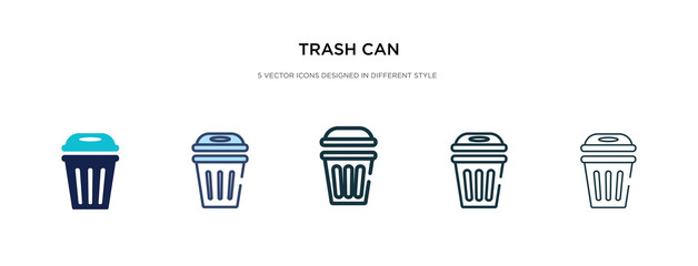 trash can icon in different style vector illustration. two colored and black trash can vector icons designed in filled, outline, line and stroke style can be used for web, mobile, ui