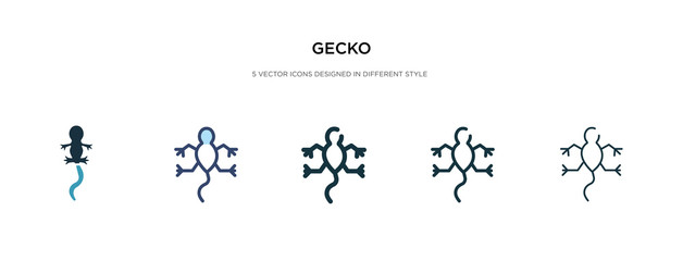 gecko icon in different style vector illustration. two colored and black gecko vector icons designed in filled, outline, line and stroke style can be used for web, mobile, ui