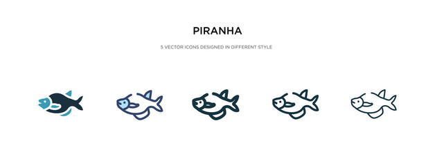 piranha icon in different style vector illustration. two colored and black piranha vector icons designed in filled, outline, line and stroke style can be used for web, mobile, ui