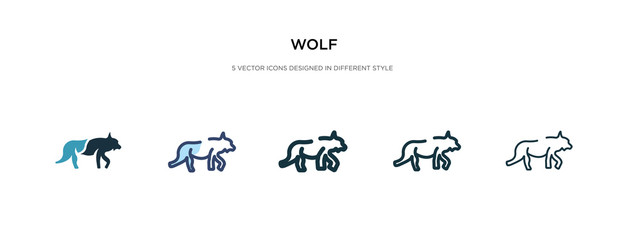 wolf icon in different style vector illustration. two colored and black wolf vector icons designed in filled, outline, line and stroke style can be used for web, mobile, ui