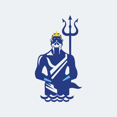 Poseidon or Neptune wielding a trident with waves. mascot logo design