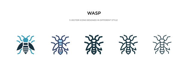 wasp icon in different style vector illustration. two colored and black wasp vector icons designed in filled, outline, line and stroke style can be used for web, mobile, ui