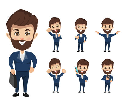 Set of businessman creation character pose with occupation job in uniform suit. Chibi cartoon business people style.