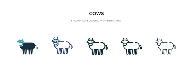 cows icon in different style vector illustration. two colored and black cows vector icons designed in filled, outline, line and stroke style can be used for web, mobile, ui