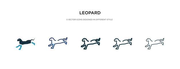 leopard icon in different style vector illustration. two colored and black leopard vector icons designed in filled, outline, line and stroke style can be used for web, mobile, ui