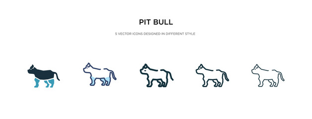 pit bull icon in different style vector illustration. two colored and black pit bull vector icons designed in filled, outline, line and stroke style can be used for web, mobile, ui