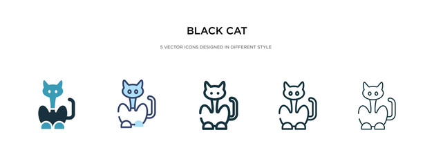 black cat icon in different style vector illustration. two colored and black black cat vector icons designed in filled, outline, line and stroke style can be used for web, mobile, ui