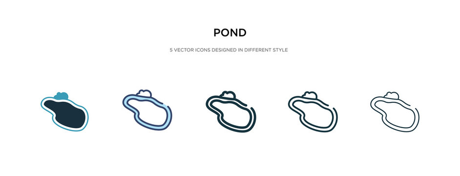 pond icon in different style vector illustration. two colored and black pond vector icons designed in filled, outline, line and stroke style can be used for web, mobile, ui