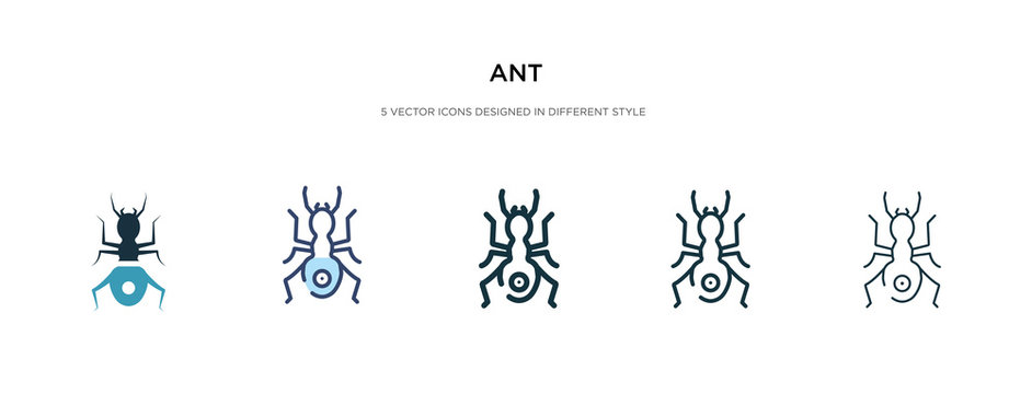 ant icon in different style vector illustration. two colored and black ant vector icons designed in filled, outline, line and stroke style can be used for web, mobile, ui