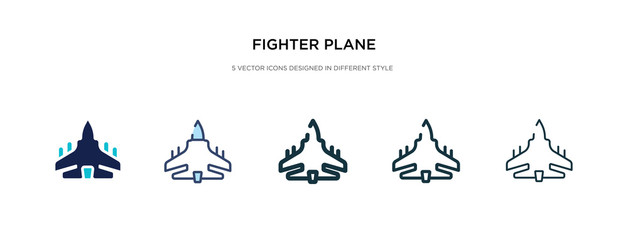 fighter plane icon in different style vector illustration. two colored and black fighter plane vector icons designed in filled, outline, line and stroke style can be used for web, mobile, ui